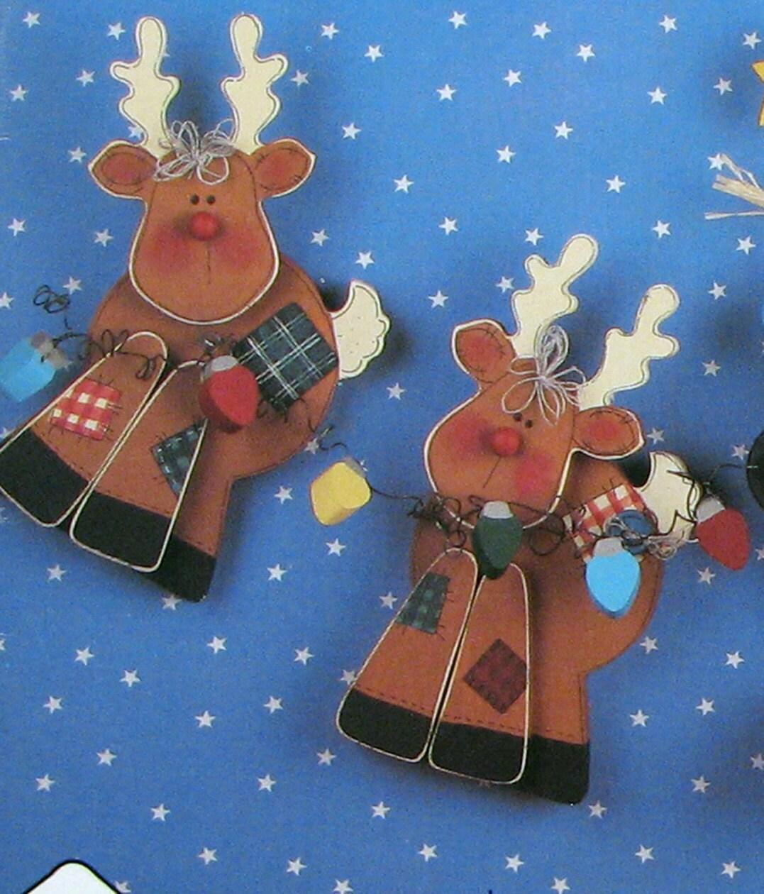 Christmas wood craft pattern reindeer by southcastlevintage