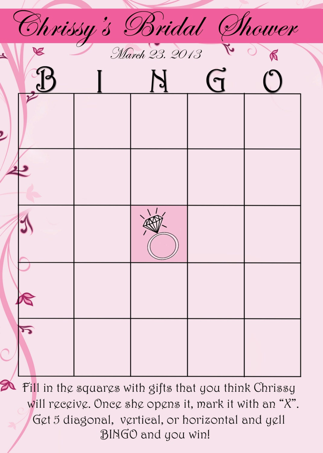 Légend image within printable bridal bingo