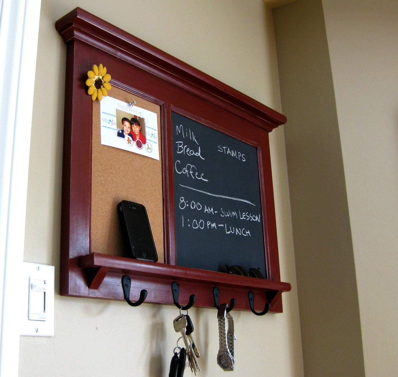 Wall shelf bulletin board cork board chalkboard by rozemake for Bulletin board organizer