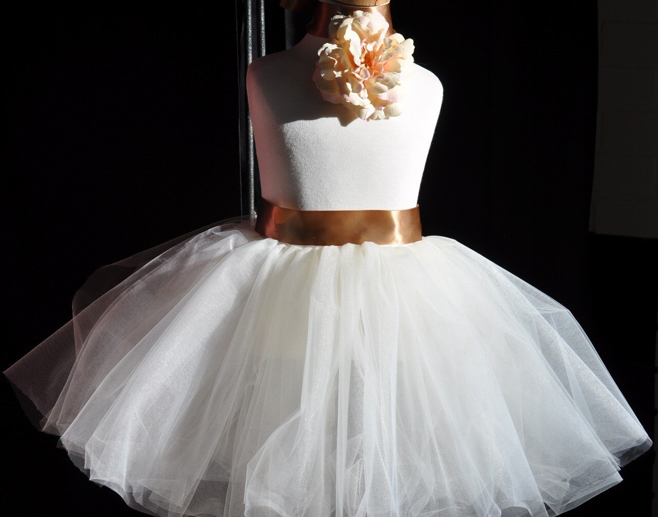 Ivory Sewn Tutu with Cocoa Satin Ribbon  Weddings, Ballet, Dress up ENTIRELY SEWN NO KNOTS