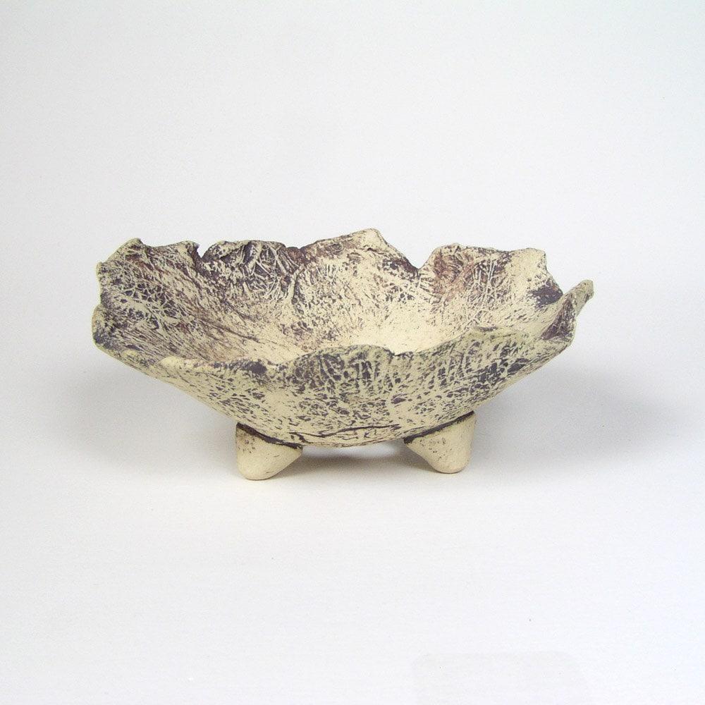 White and Gray Bonsai Accent Pot, Unglazed Stoneware Kusamono Planter, Small Footed Flower Pot