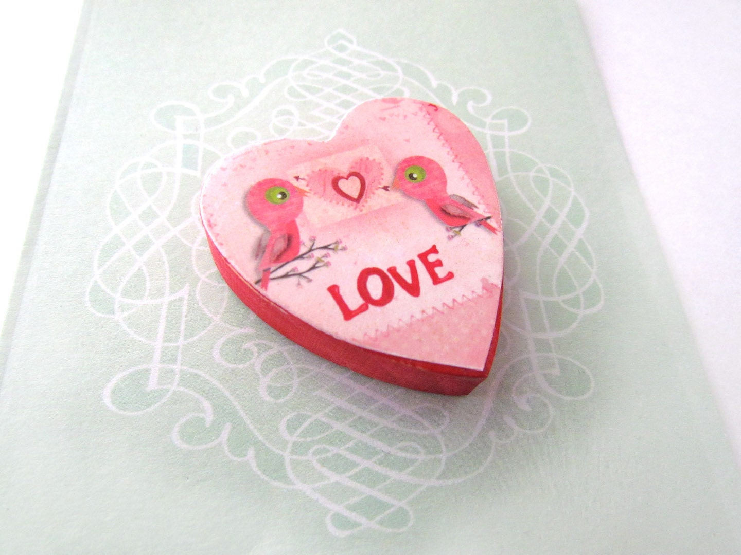 Pink LOVE Birds Magnet - Valentines Day Magnet - Rustic Heart Shaped Refrigerator Magnet - Shabby Chic Decor - WalterSilva