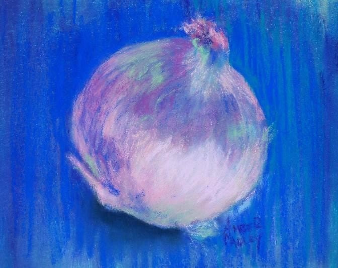 Affordable Art One Dollar Sale White Onion On Blue Pastel Painting