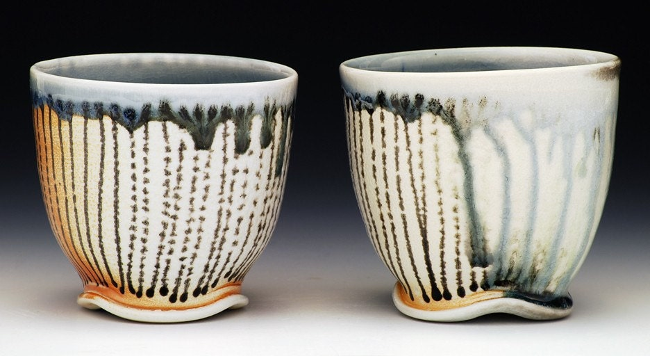 Set of Two Soda-Fired Porcelain Cups