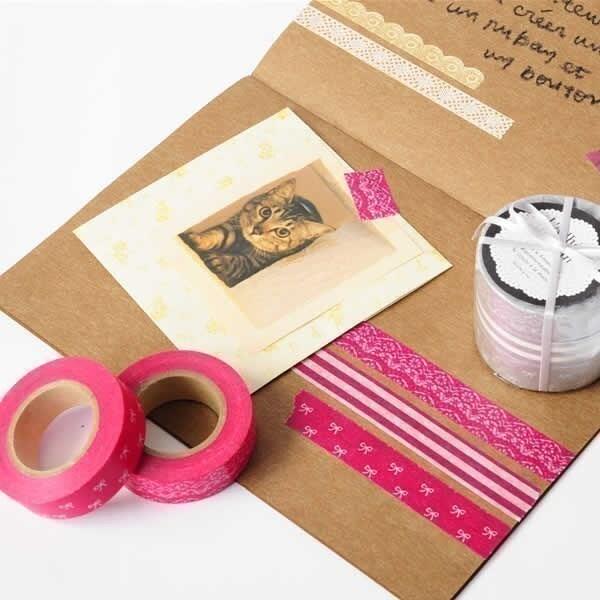Washi paper masking tape Set of 3 - 15mm Floral Teal