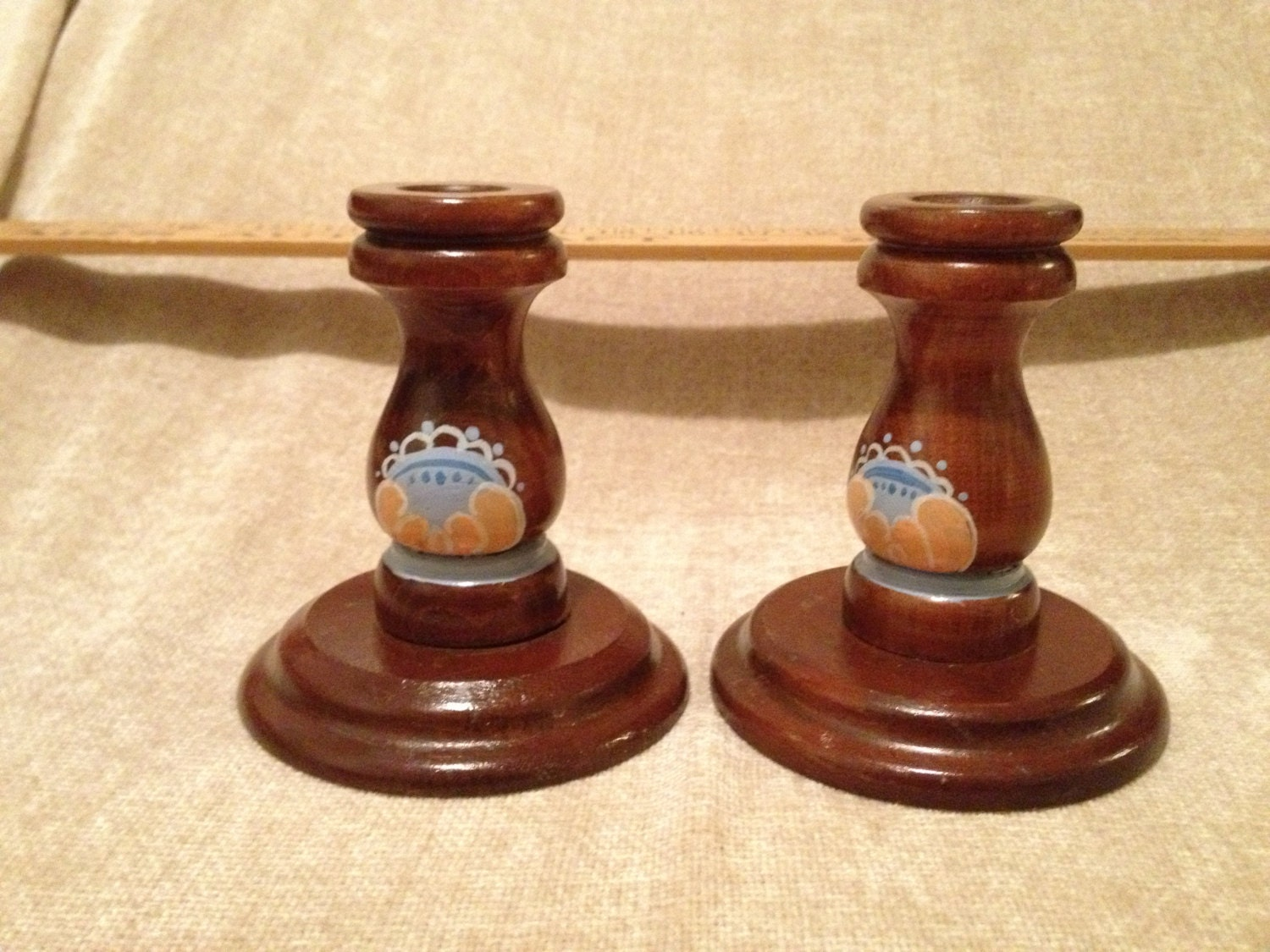 Wooden taper candle holder handpainted in by for Oxford turned wood candle holders