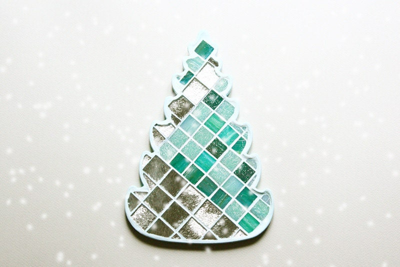 Christmas tree - Christmas decor - Aquamarine and silver mosaic wall decor - LoveMosaicHomeDecor