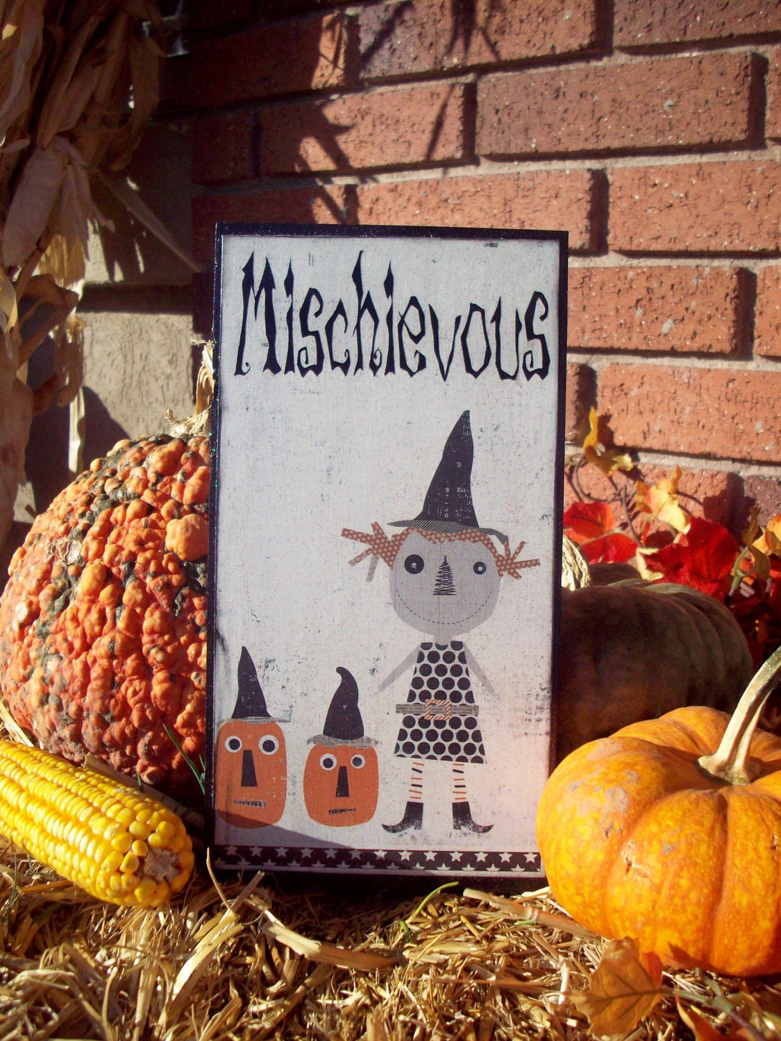Halloween Mischievous Girl decorative wood board