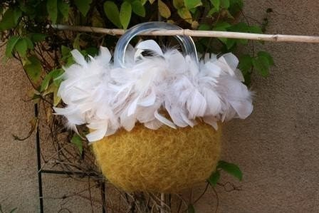 Yellow Feather Purse