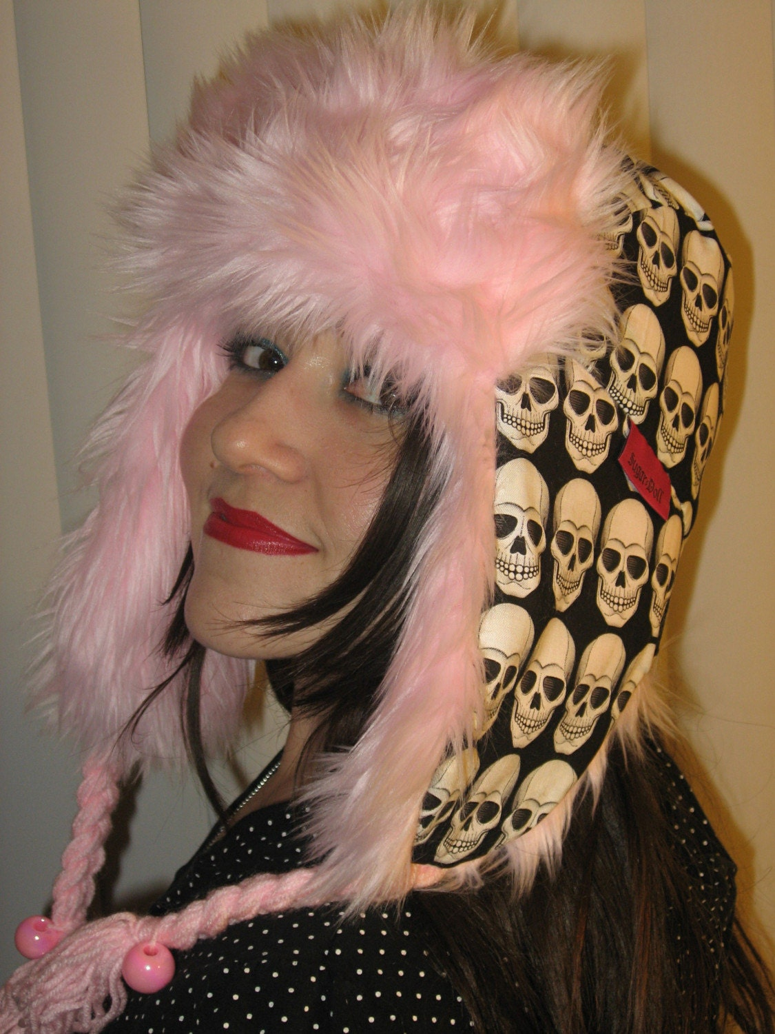 Robo Skull Trapper Hat Baby Pink Fur and Piggy Tails :  snowboard winter accessories etsy