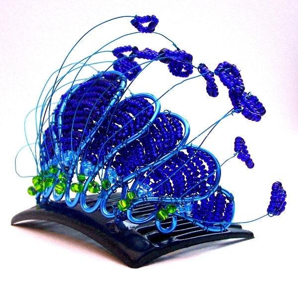 Peacock tiara, handmade