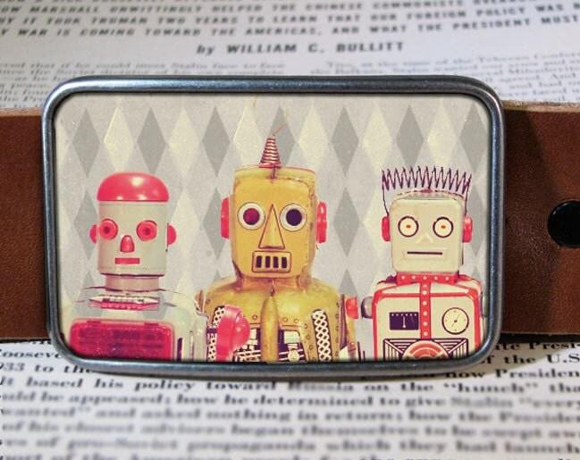 robot friends belt buckle, vintage inspired, geekery 277