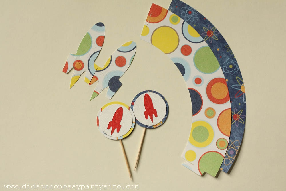 Space Cupcake Wrappers, Cupcake Toppers and Straw Wrappers - FREE SHIPPING