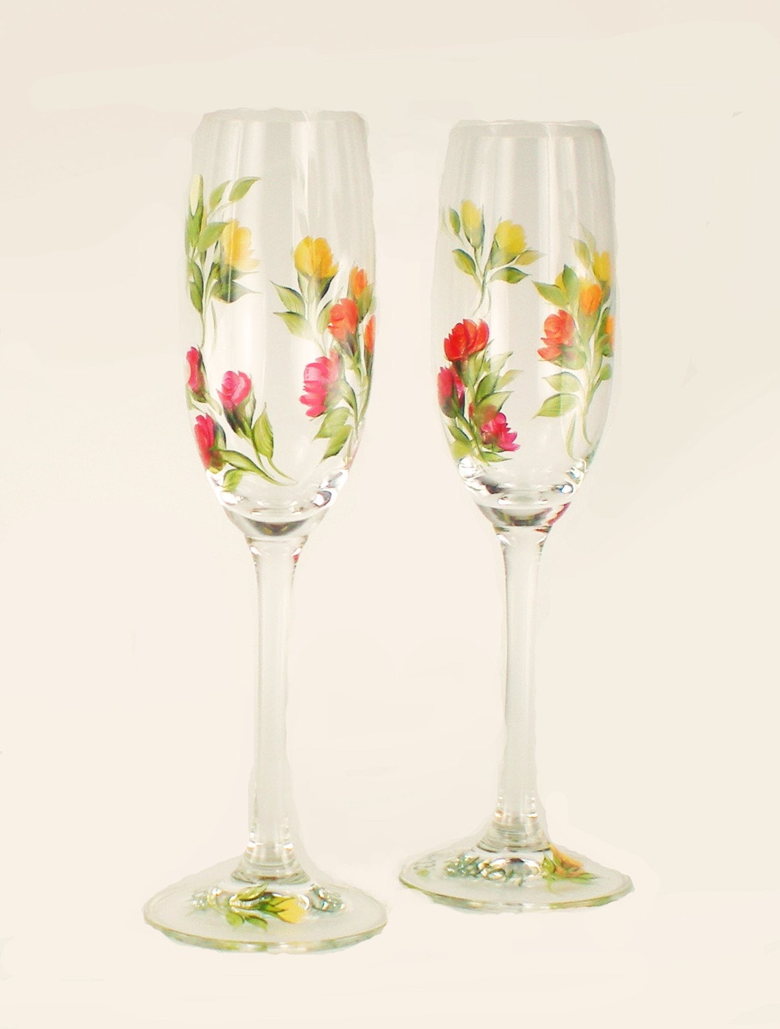 Hand Painted Champagne Toasting Flutes By HandPaintedPetals