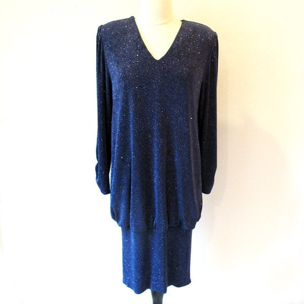 80s Blue  Dress / 1980s  Evening Dress /  V neck 1980 Dress - StraylightVintage