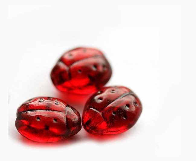 Red ladybugs Czech Glass beads - transparent dark red, black dots, woodland - 9x7mm - 20Pc - 0168 - MayaHoney