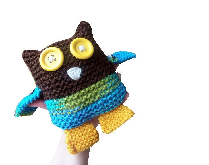 Owl Toy - hand knit plushie stuffed animal in brown, blue, and yellow - StitchesandHearts