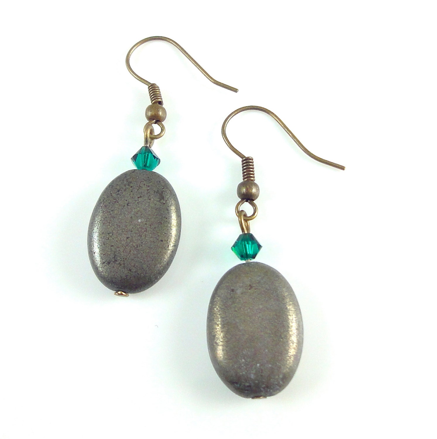 Pyrite Earrings Oval Pyrite Beads with Emerald Green Swarovski Crystals Semi Precious Stone Earrings