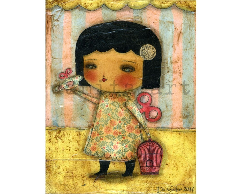 I Finally Found A Friend - 7x9 Mixed Media Giclee Print from original collage art valentine by Danita