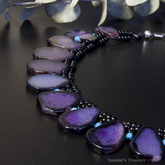 Bold Black Purple and Turquoise Necklace