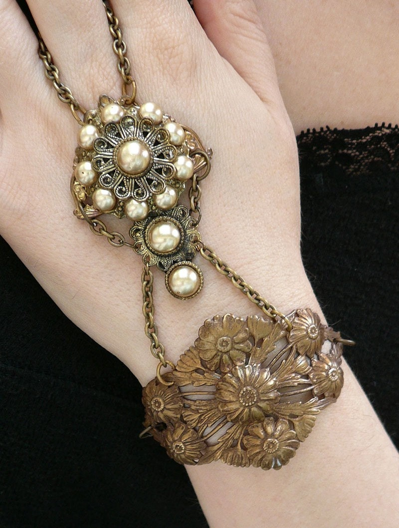 Theda .. Vintage Pearl and Filigree Brass Handflower Gypsy Bracelet