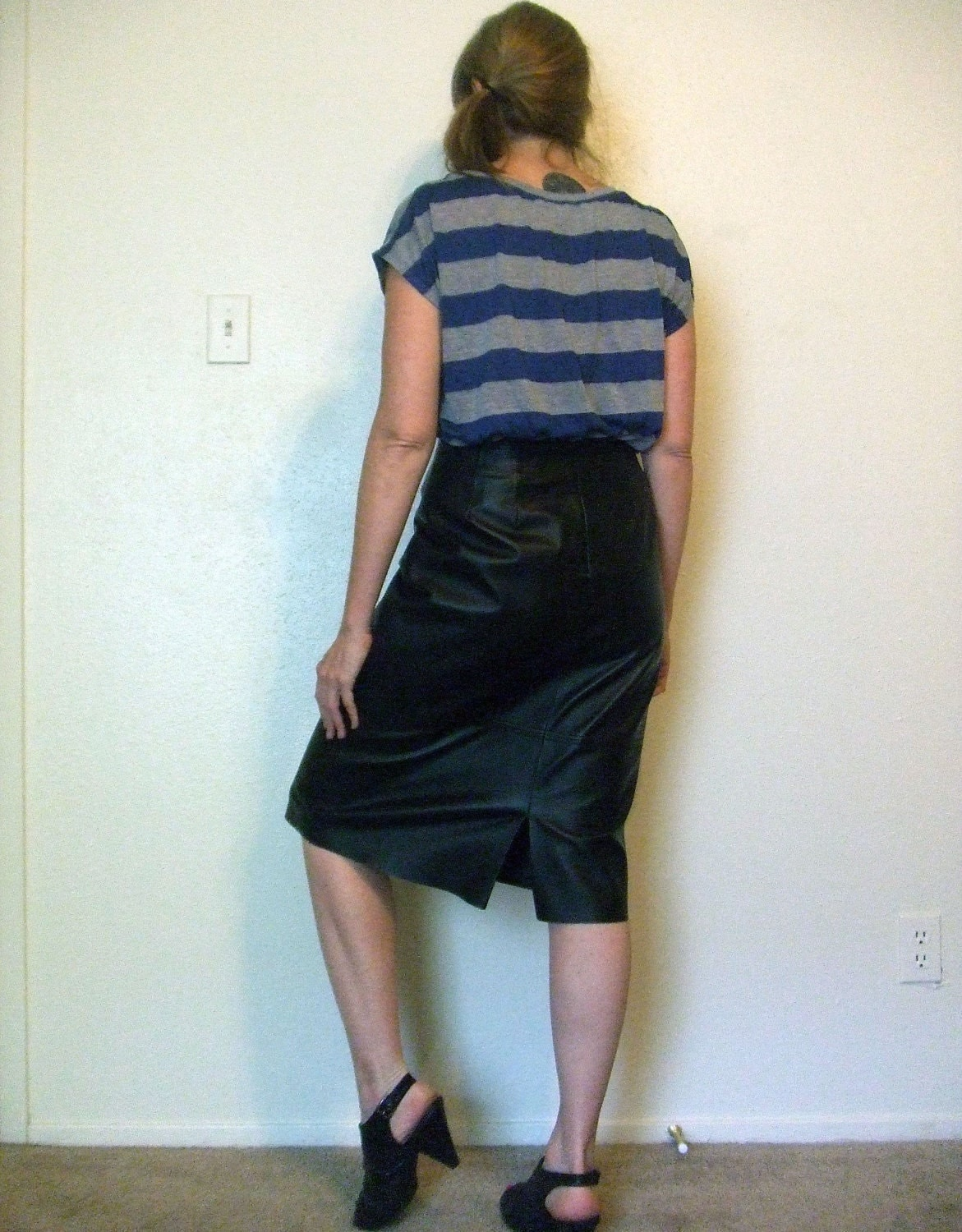 black leather high waisted skirt calf by starstedevintage