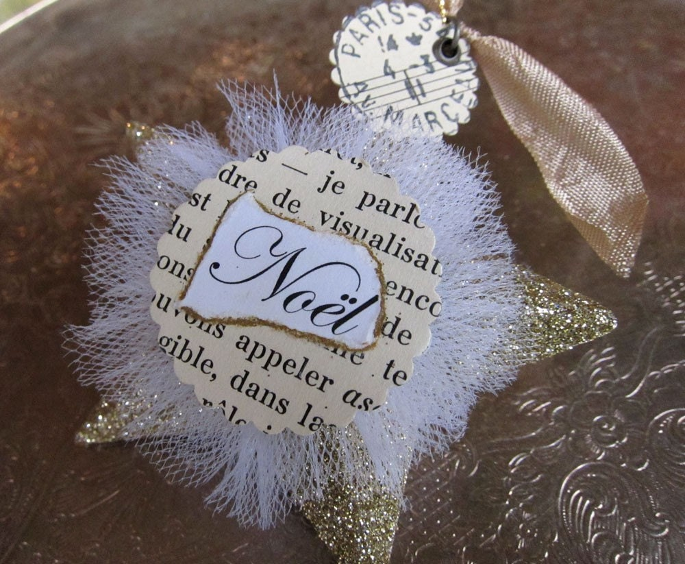 Paris Chic Shabby Chic Gold Glitter Star Cristmas Ornament Christmas Decoration