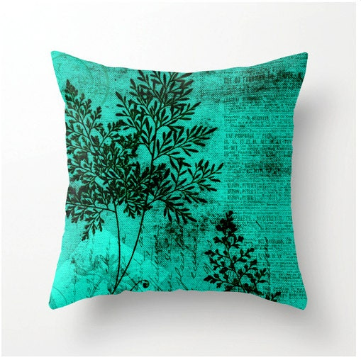 turquoise botanical pillow square accent cushion by