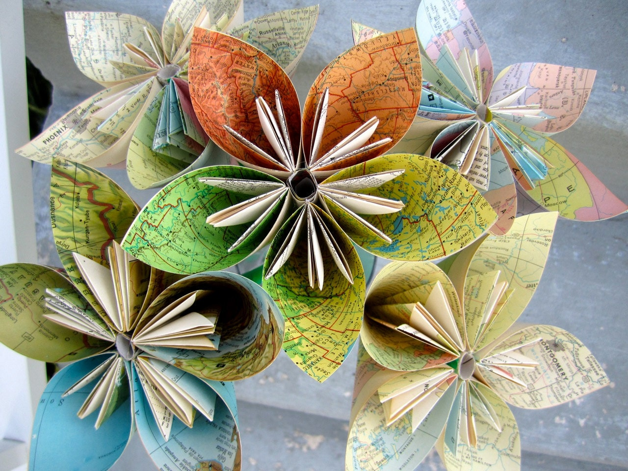 5 Medium Vintage Map Recycled Book Paper Flowers
