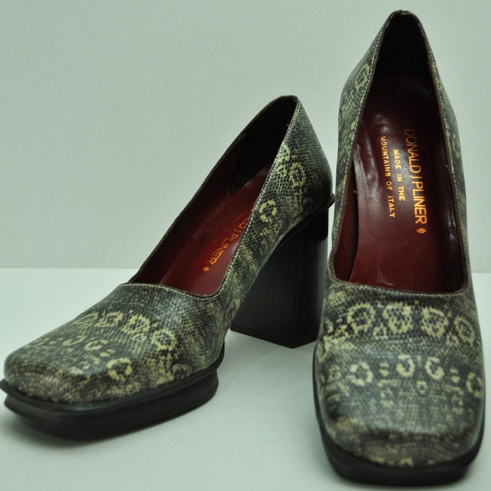 Vintage 80s DONALD PLINER Italy Snakeskin Leather Chunky Heels Square Toe Pumps 7.5N