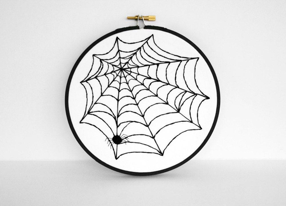 Arte de Halloween del Web de araña colgante de pared Decoración - 6 pulgadas Art bastidor de bordado en Blanco y Negro