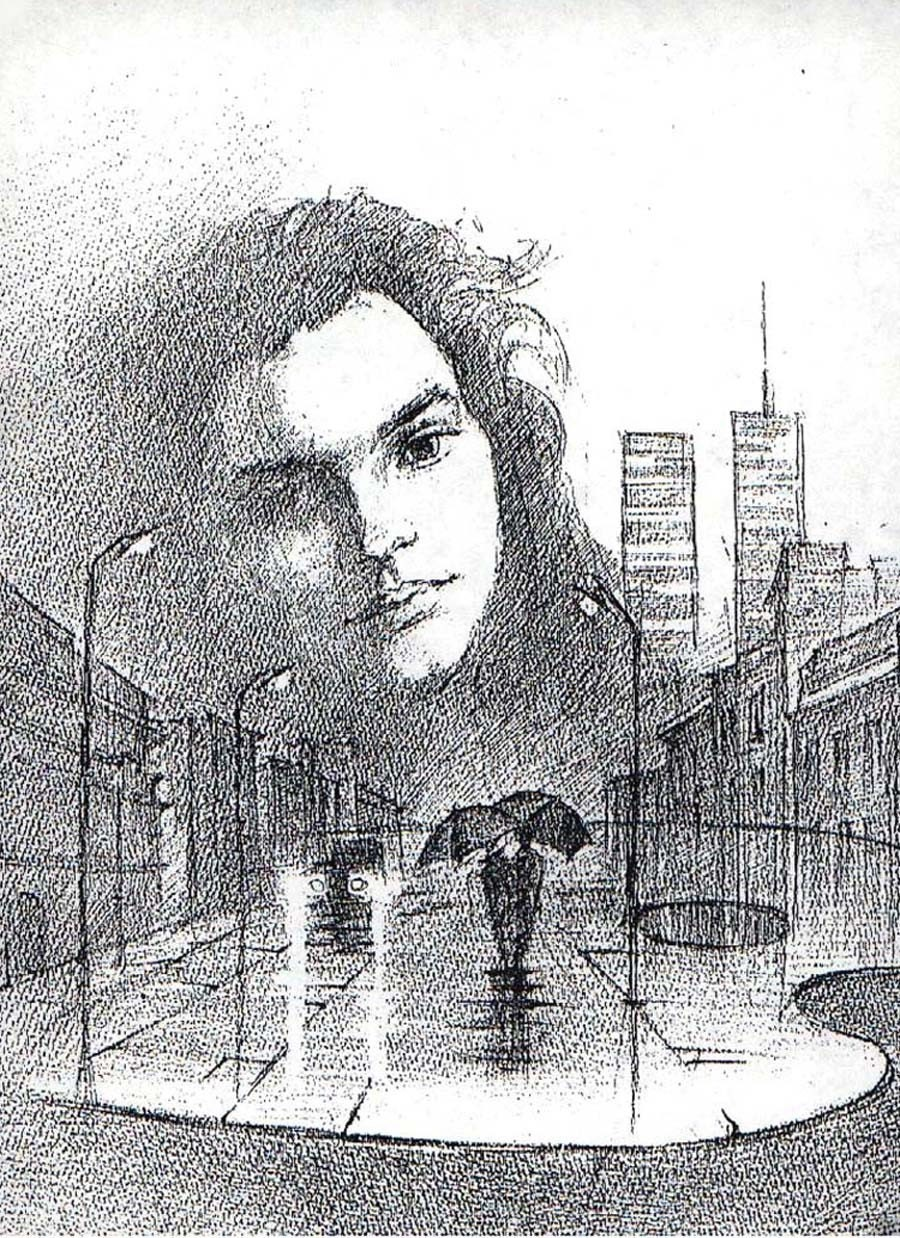 RAIN - Print from Original Artwork by Yury Tarler, art drawing print reproduction limited edition black white city girl face New York WTC twin Towers  street lights palette umbrella rain