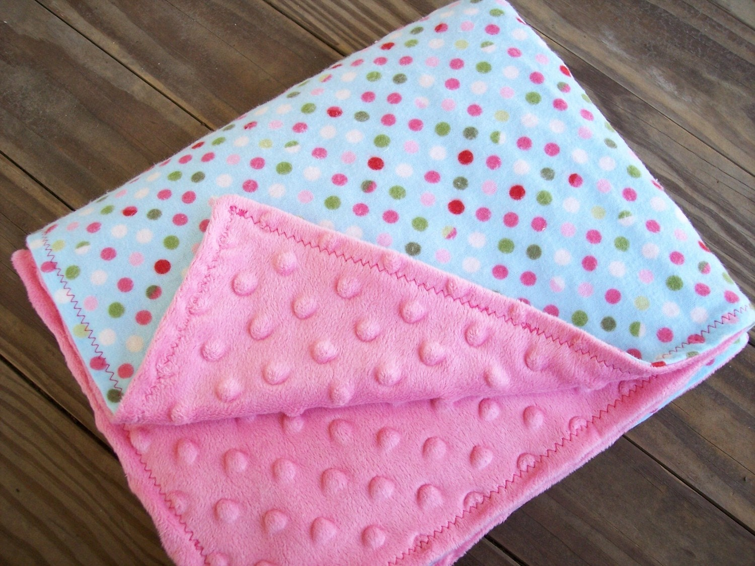 Pink Minky with Polka Dots Blanket