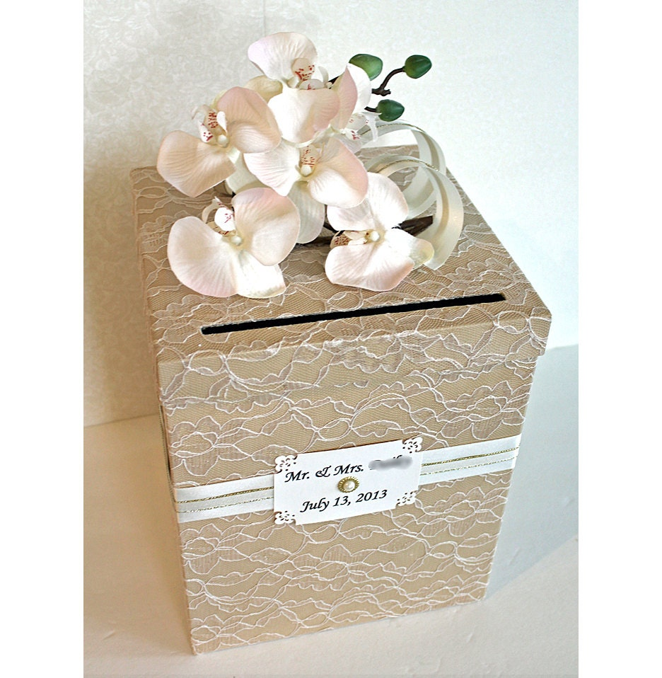 Items similar to wedding card box vintage champagne tan for Wedding mailbox decorating ideas