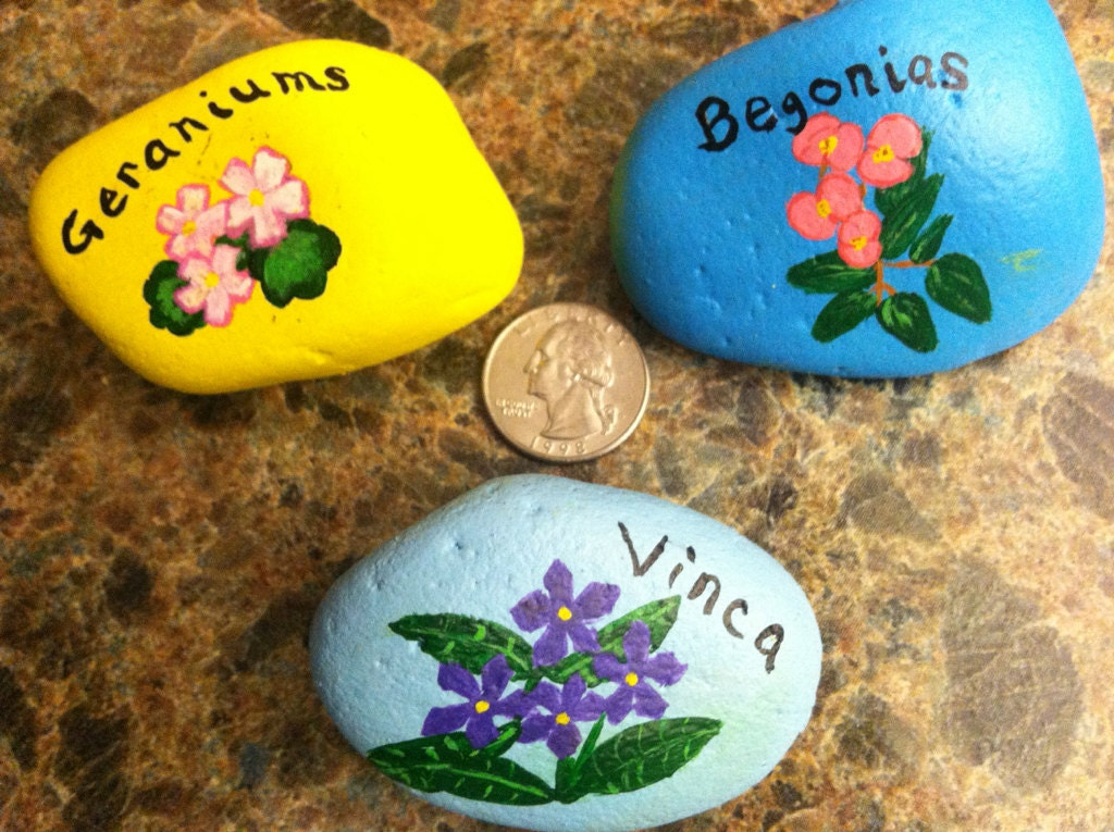 Items similar to hand painted garden stones or markers - Hand painted garden stones ...