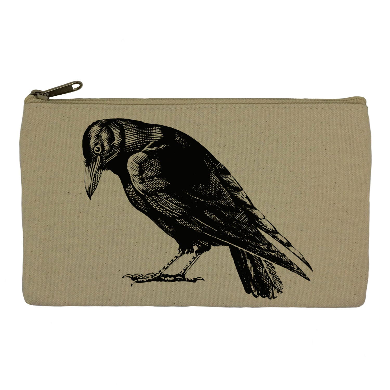 Pencil case stationary black bird  crow pencil pouch canvas bag pencil holder make up bag school supplies