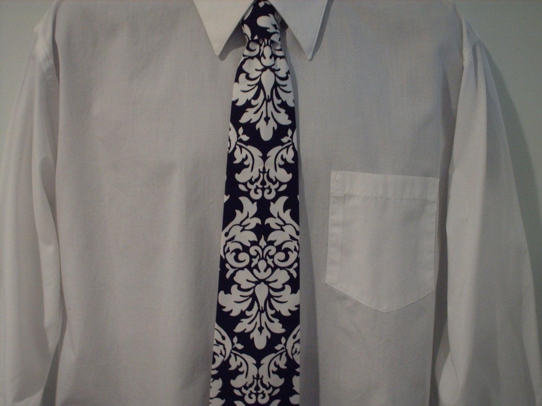 Damask NECKTIE  brand new :  wedding black and white damask wedding tie ringbearer Il 430xN.137481983 Damask NECKTIE MEN'S Black White Dandy Tie Wedding Bridal Groom Grromsmen