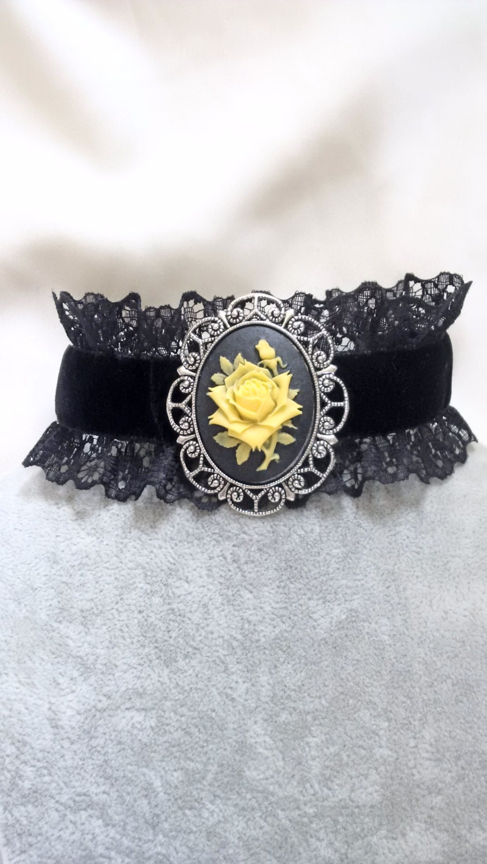 Necklace  Choker  Cameo  Rose Choker   Rose Cameo Necklace  Velvet Choker   Victorian Gothic Choker
