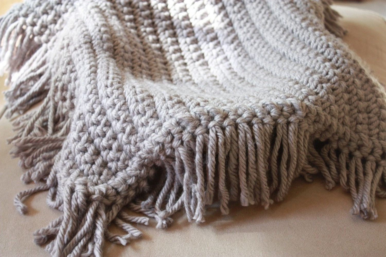Gray Blanket with Fringe - Great Photo Prop
