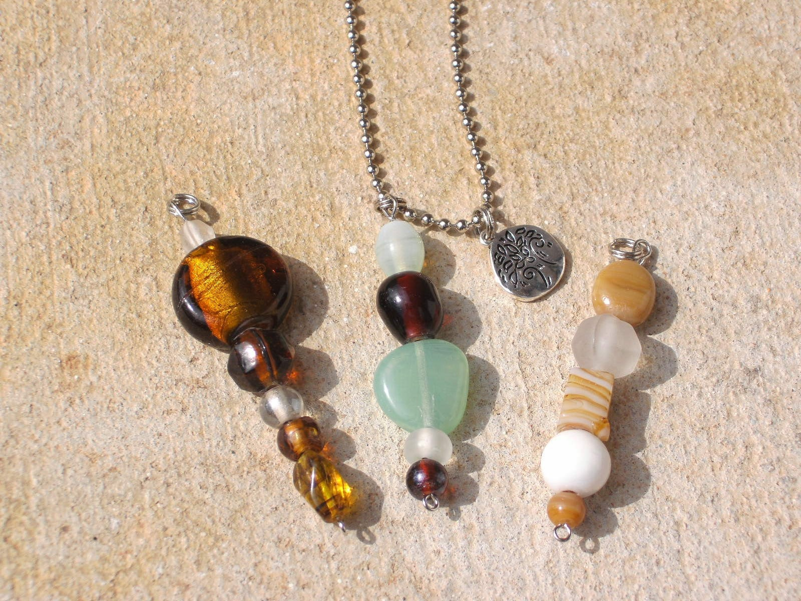 Nature Inspired Glass Bead Pendant Set w/silver circle Tree charm