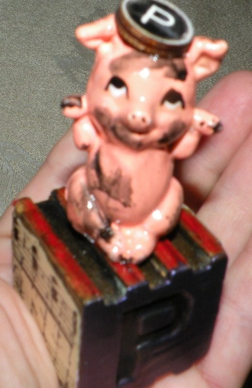 Original Art - Mixed Media Assemblage - P is for Piggy - Adorable Toy Block Dirty Little Pig sculpture