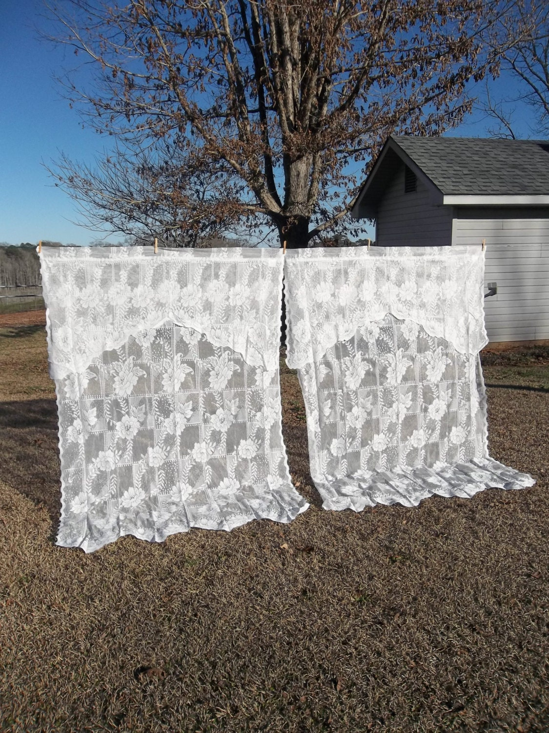 Vintage lace curtains window treatment french by misshettie for Country farmhouse window treatments