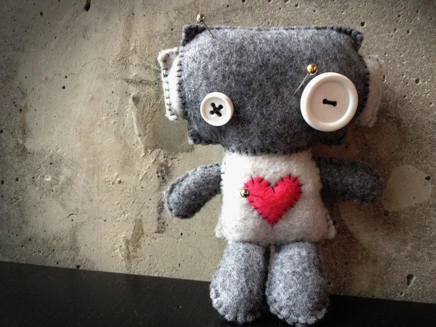 Baby Voodoo Felt & Fleece Robot - tinyrobotfactory