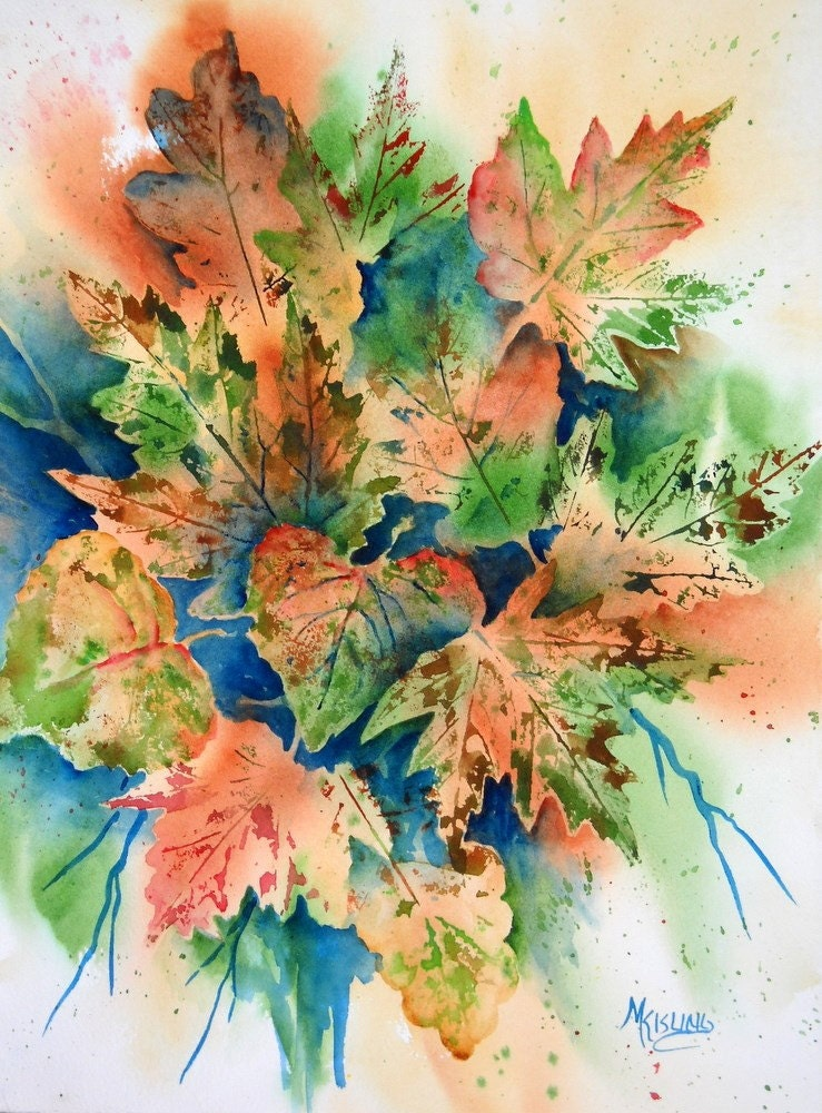 Watercolor Of Fall Leaves Orange Green Martha By