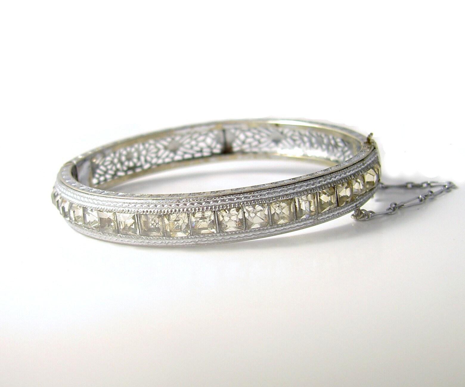 Vintage Signed ALLCO 1930s Art DECO Rhodium Rhinestone Cuff Bracelet