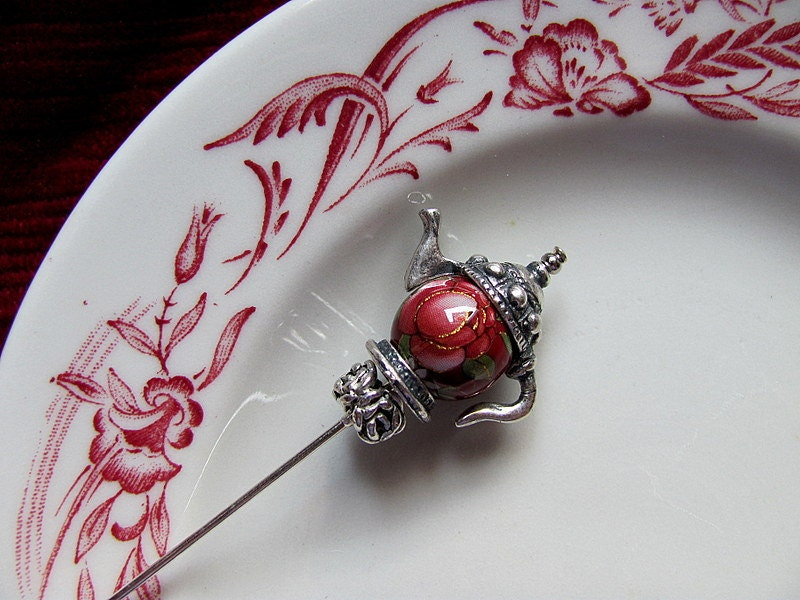 Olde English Rose Victorian Teapot Hat Pin - GardenOfWeedinGirl