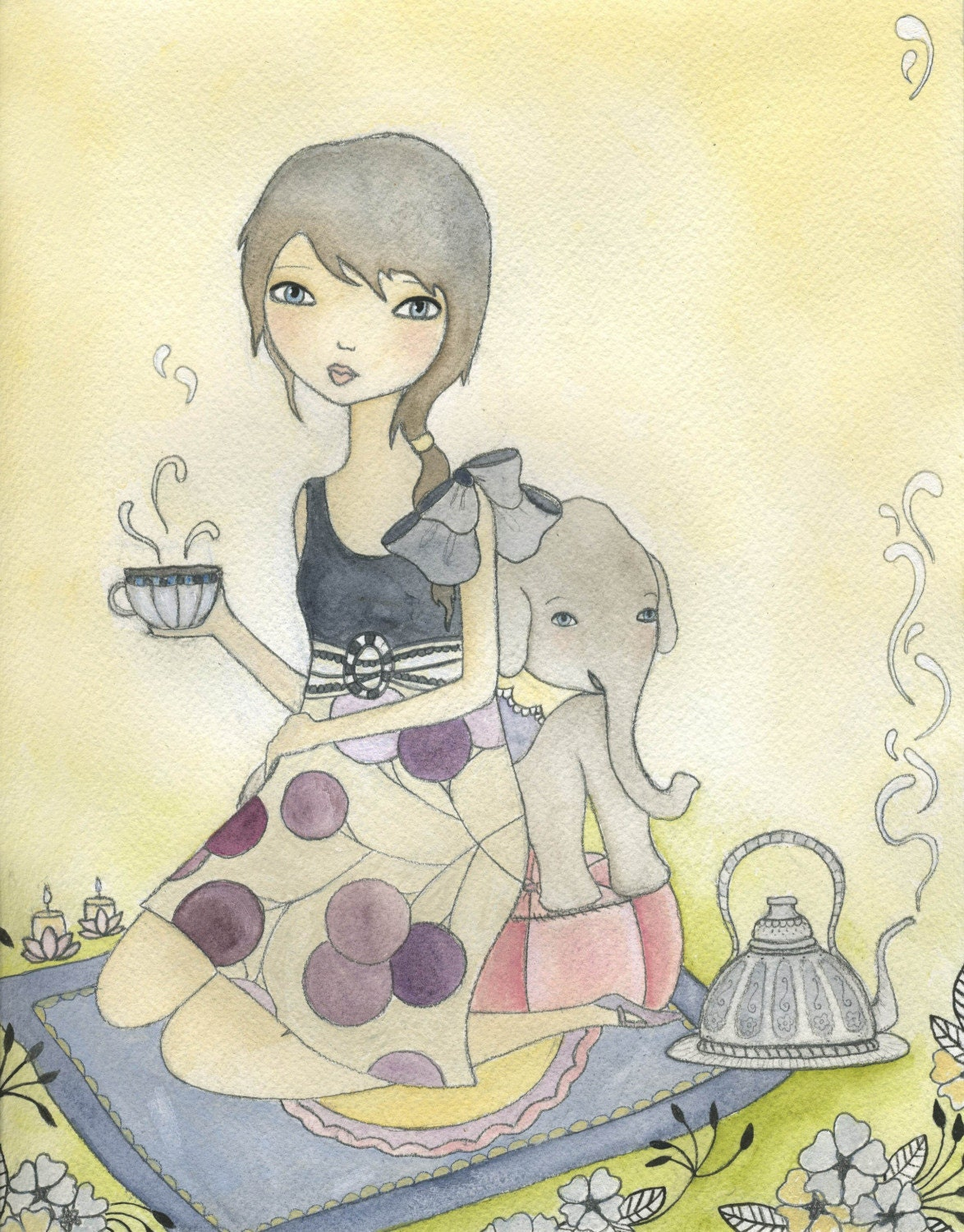 Elephant Tea Jungle Girl Nursery Art Print