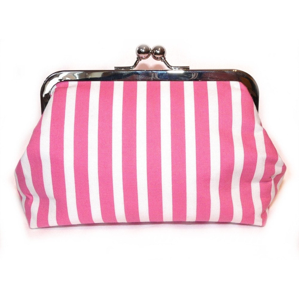 Pink Candy Stripe Medium Clutch
