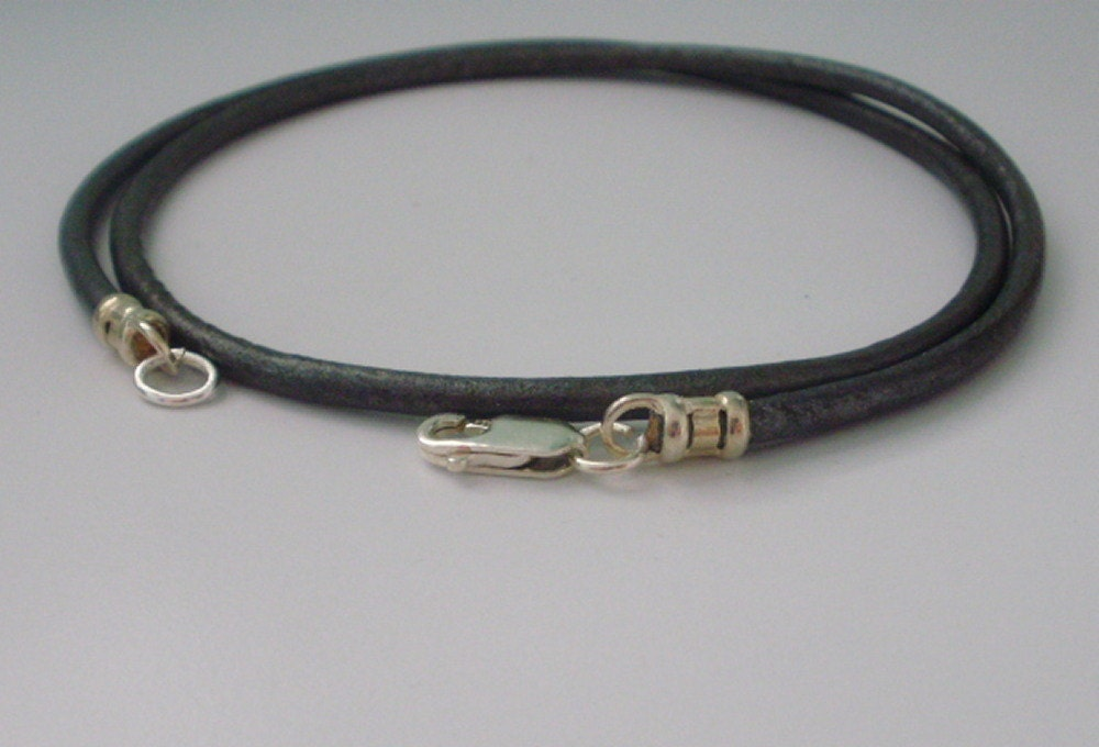 Grey Leather and Silver Necklace 3mm Round Leather Cord Sterling Silver ClaspFittingsgift for Mengift for womenboyfriend gifthandmade