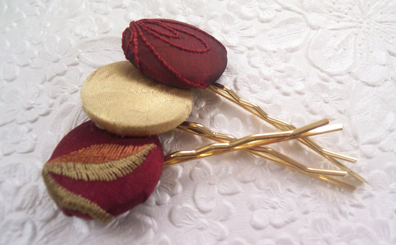 Hair-pins - 3 fabric covered buttons - cranberry and gold - EmbellishedLife